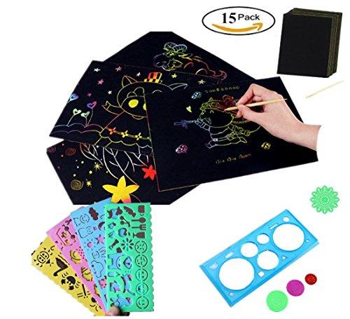 15pcs Kids Premium Rainbow Scratch Kit 10 BIG 11