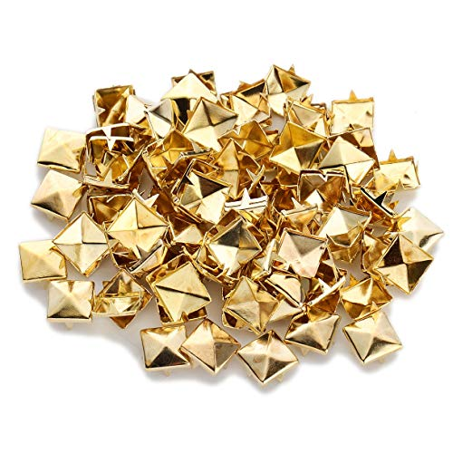 100pcs Punk Colors Metal Square Pyramid Rivet Cone Studs Nailhead Craft Spike DIY 10mm - Gold Rivet Cone