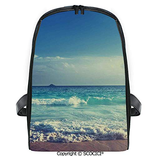 SCOCICI Lightweight Travel Backpack Tropical Island Paradise Beach at Sunset Time with Waves and the Misty Sea Image Decorative Holiday Gift for Girls