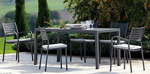 Mesa de jardín exterior QUATRIS 160 x 80 cm hierro antiguo + 8 sillones Alice VERMOBIL Made in Italy: Amazon.es: Jardín