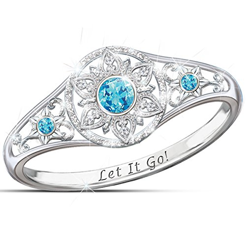 Disney FROZEN Sterling Silver Enchanted Snowflake Women's Ring Featuring Let It Go Engraving: 10.5