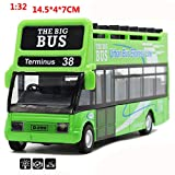 ShiningLove Alloy Diecast Sightseeing City Tour Double Decker Bus 1:32 Pull Back & Flashing & Musical Toy Vehicle for Kids Christmas Birthday Gift (Random Colors)