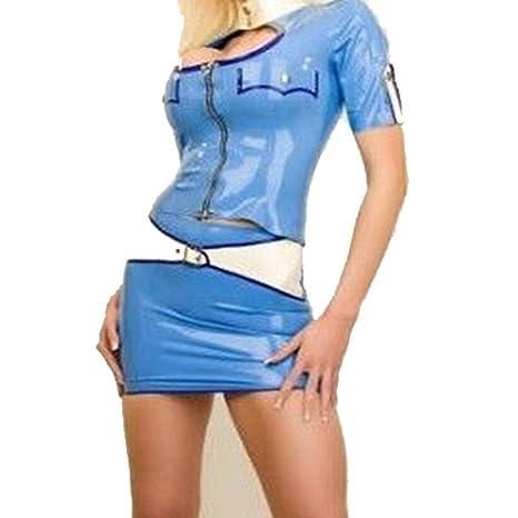 Falda de látex 100% goma, sexy, azul para mujer, uniforme, falda ...