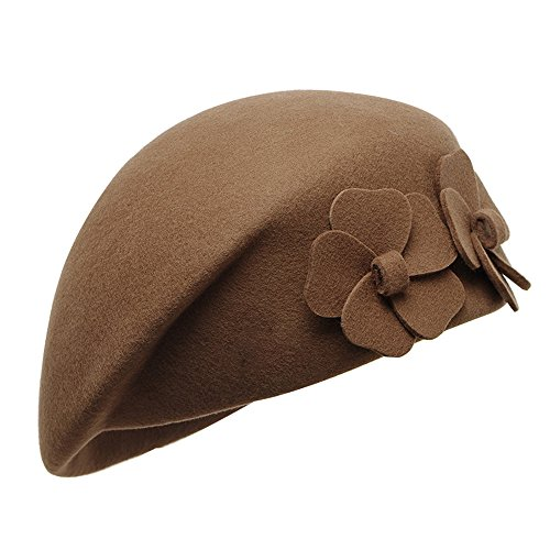 Women's Beret Beanie Warm Wool Cap Hat Party Headwear (Camel)