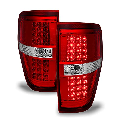 - ACANII - For 2009 2010 2011 2012 2013 2014 Ford F150 Red Clear LED Tail Lights Brake Lamps