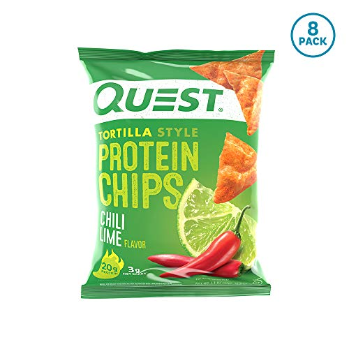 Quest Nutrition Tortilla Style Protein Chips, Chili Lime, Low Carb, Gluten Free, Soy Free, Baked, 8 Count