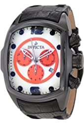 Invicta Men's 10288 Lupah Revolution Chronograph White Dial Black Leather Watch