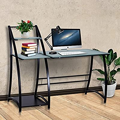 Tangkula Computer Desk Home Office Glass Top Writing Table with Shelves