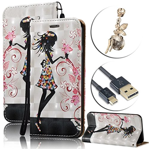 For Samsung Galaxy On5 G550 Case Waterproof,Vandot Luxury PU Leather Flip Stand Cover Colorful Printing 3D Relief Magnetic Shockproof Protective Case+Bling Anti Dust Plug+USB Cable-Girl