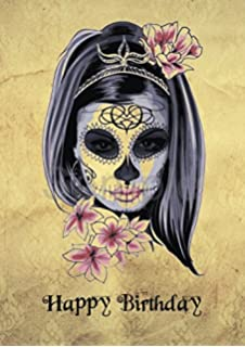 Wee blue coo decorative skull day of the dead greetings card mexican sugar skull steam punk girl gothic birthday greetings card a5 m4hsunfo