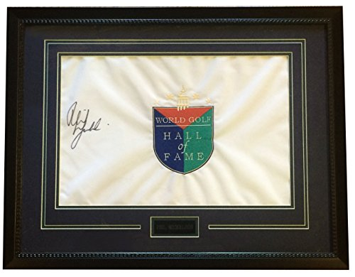 World Golf Hall Of Fame - Phil Mickelson signed World Golf Hall of Fame flag framed auto PSA LOA 25x20