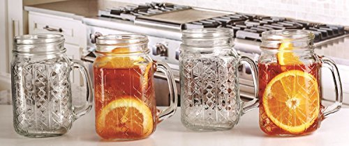 17 Oz Glass Embossed Bracelet Geometric Design Mason Jar Mug Drinking Glasses (8) ()