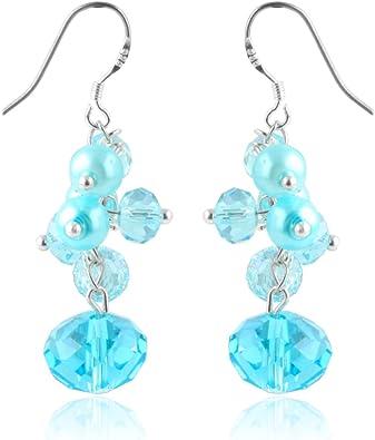Blue and clear dangle drop earrings