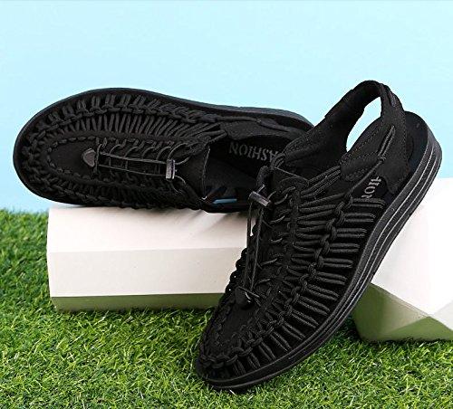 Freizeitschuhe Xing Sandalen Baotou Rom Sandalen Herren black Lin Webart Schuhe Herren Trend Sommer Sommer Sandalen BUw8Brq
