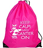 Funky Filly Pony Girls Silver Horse Keep Calm and Canter On Gym/Swim/Shoe Bag, Pink, Size 45 x 34 cms