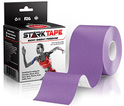 Kinesiology Athletic Tape for Athletes. Recovery Knee Taping for Sports Injuries Therapy, Ankle, Shoulder, Wrist, Plantar Fasciitis. Sticky Waterproof Latex Free Adhesive - Uncut 5 cm x 5 m Purple