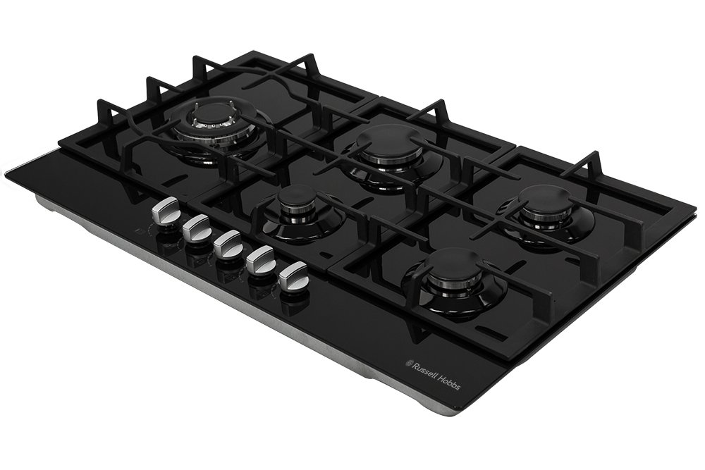 Russell Hobbs RH75GH601B Black Glass 75cm Wide, 5 Burner Gas Hob, Free 2 Year Guarantee Russel Hobbs