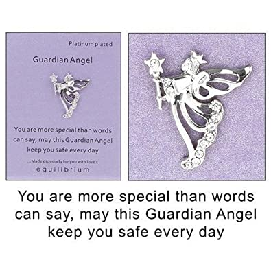 Equilibrium Guardian Angel Brooch Pin, Special Message Words, Platinum Plated