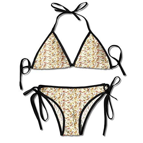 Women's Grommet Lace Crochet 2Pcs Swimsuit Personality Swimwear Bikini Set