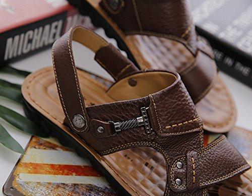 Sandali Uomini Pelle di cuoio genuino Scarpe da spiaggia sandali leggeri, Khaki, UK = 7,5, EU = 41 1/3