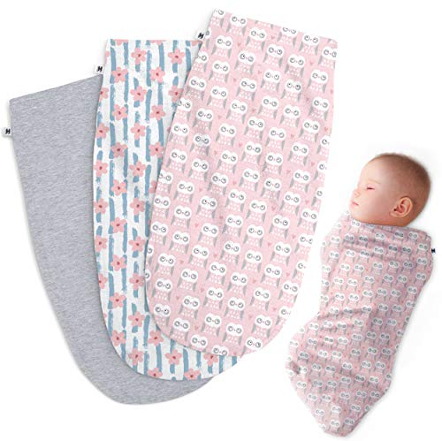 Henry Hunter Baby Swaddle Cocoon Sack | The Simple Swaddle | Soft Stretchy Comfortable Cotton Receiving Blanket for Infants & Newborns 0-3 Months (Flower | Owl | Light Heather)