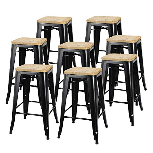 ZENY Set of 8 Metal Bar Stools 26