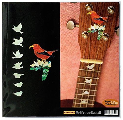 Ukulele-Fretboard Markers & Hawaiian Bird Inlay Sticker - Dove Set