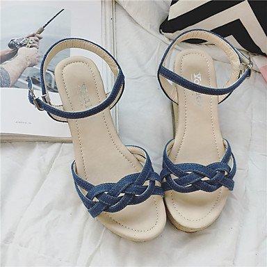 LvYuan Mujer Sandalias Lino Verano Paseo Combinación Talón de bloque Blanco Negro Beige Azul Pantalla de color 7'5 - 9'5 cms beige