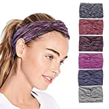 QIMOSHI Headbands for Women Girls Cotton Knotted Yoga Sport Hair Band Headwrap, 6