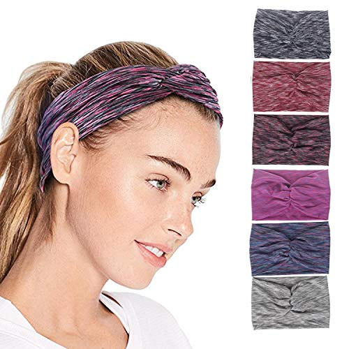 QIMOSHI Headbands for Women Girls Cotton Knotted Yoga Sport Hair Band Headwrap, 6 Packs Tie Dyeing Style