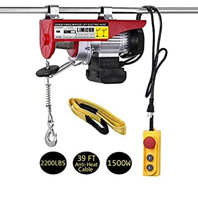 """LIMICAR 2200LBS Overhead Lift Electric Hoist Crane Garage Ceiling Pulley Winch Remote Control Power System with Premium Straps 6.6'x3"""" Lift Sling"""