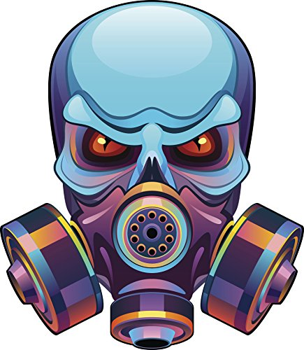 Pink Blue Metallic Ombre Skull Wearing Gas Mask Vinyl Decal Sticker (8
