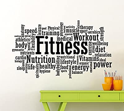 Fitness Motivation Word Cloud Wall Decal Healthy Lifestyle Gym Sports Training Place Vinyl Sticker Home Interior Art Decoration Any Room Mural Waterproof High Quality Vinyl Sticker (91gy)