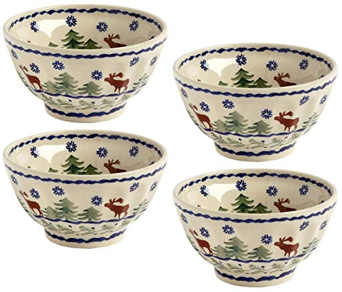 Polish Pottery Reindeer Pine Winter Christmas Moose Cereal/Soup Bowls, White/Blue/Green, 5.5