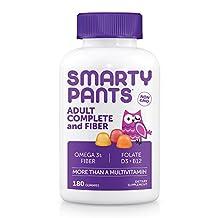 SmartyPants Gummy Vitamins Adult Complete Plus Fiber Multivitamin Plus Omega 3 DHA/EPA Fish Oil, Vitamin D3, B12 (Methylcobalamin), Inulin Fiber, 180 count