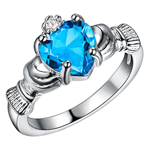 WIBERN Silver Plated Heart Shape Crystal Stone Claddagh Ring, Charm Engagement Rings for Women (Color-Size:Sapphire-6)