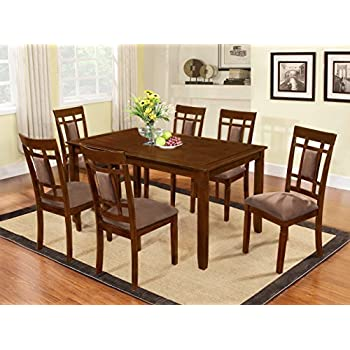 Captivating The Room Style 7 Piece Cherry Finish Solid Wood Dining Table Set