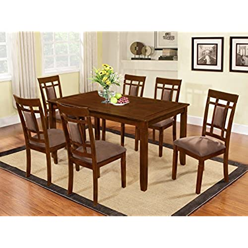 Bon The Room Style 7 Piece Cherry Finish Solid Wood Dining Table Set