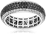 14k White Gold Black and White Diamond Micro Pave Eternity Ring (2.35 cttw, H-I Color, I1-I2 Clarity), Size 7