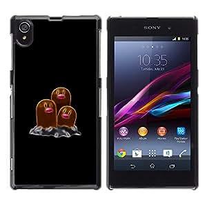 EJOY---Cubierta de la caja de protección la piel dura para el / Sony Xperia Z1 L39 / --Meter Monster Marrón