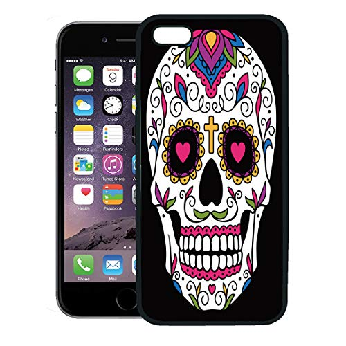 Semtomn Phone Case for iPhone 8 Plus case,Red Day Mexican Sugar Skull Yellow Dead Floral Halloween Cartoon iPhone 7 Plus case -