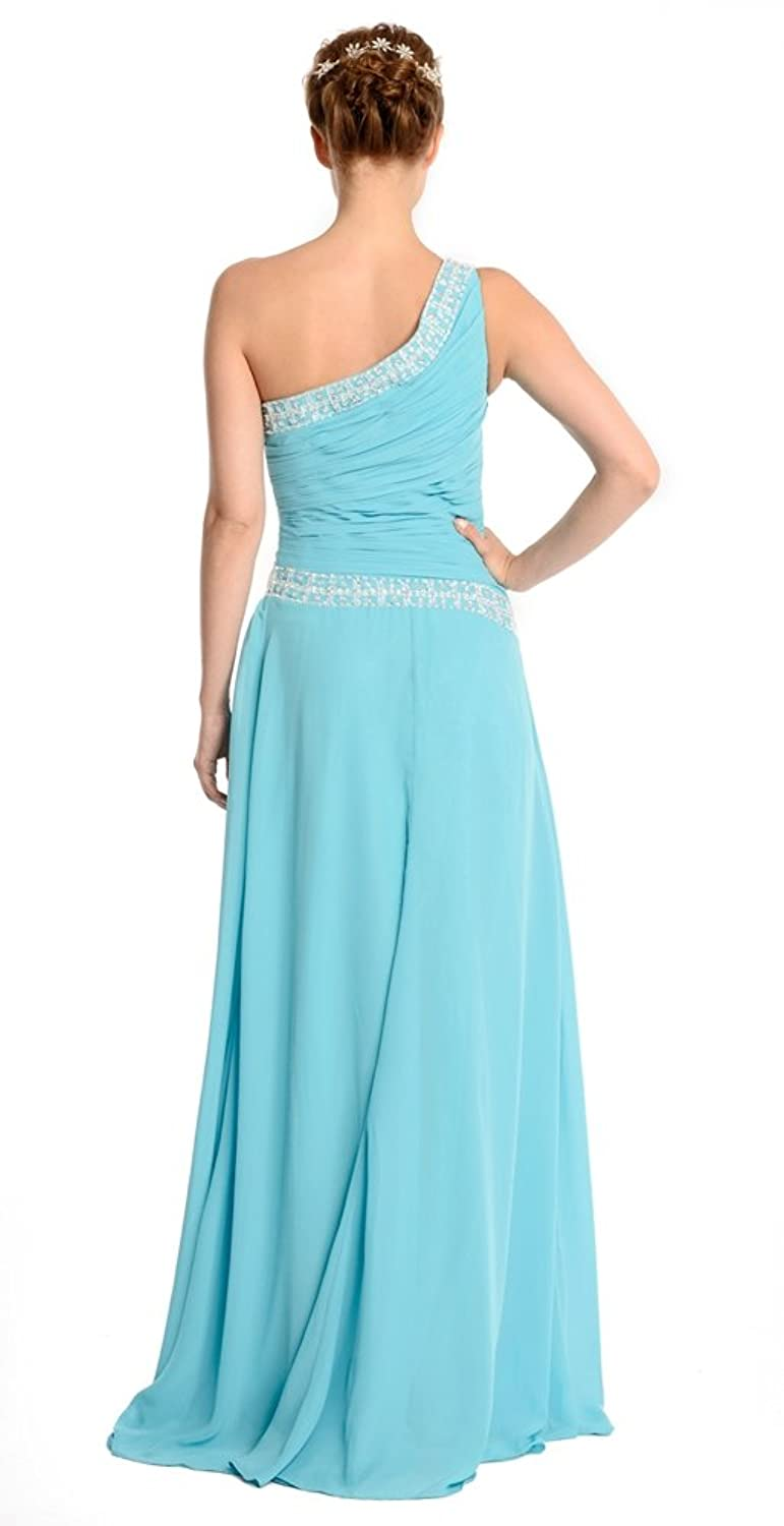 Amadeo One Shoulder Draped Beading A Line Prom Dresses Long LF047