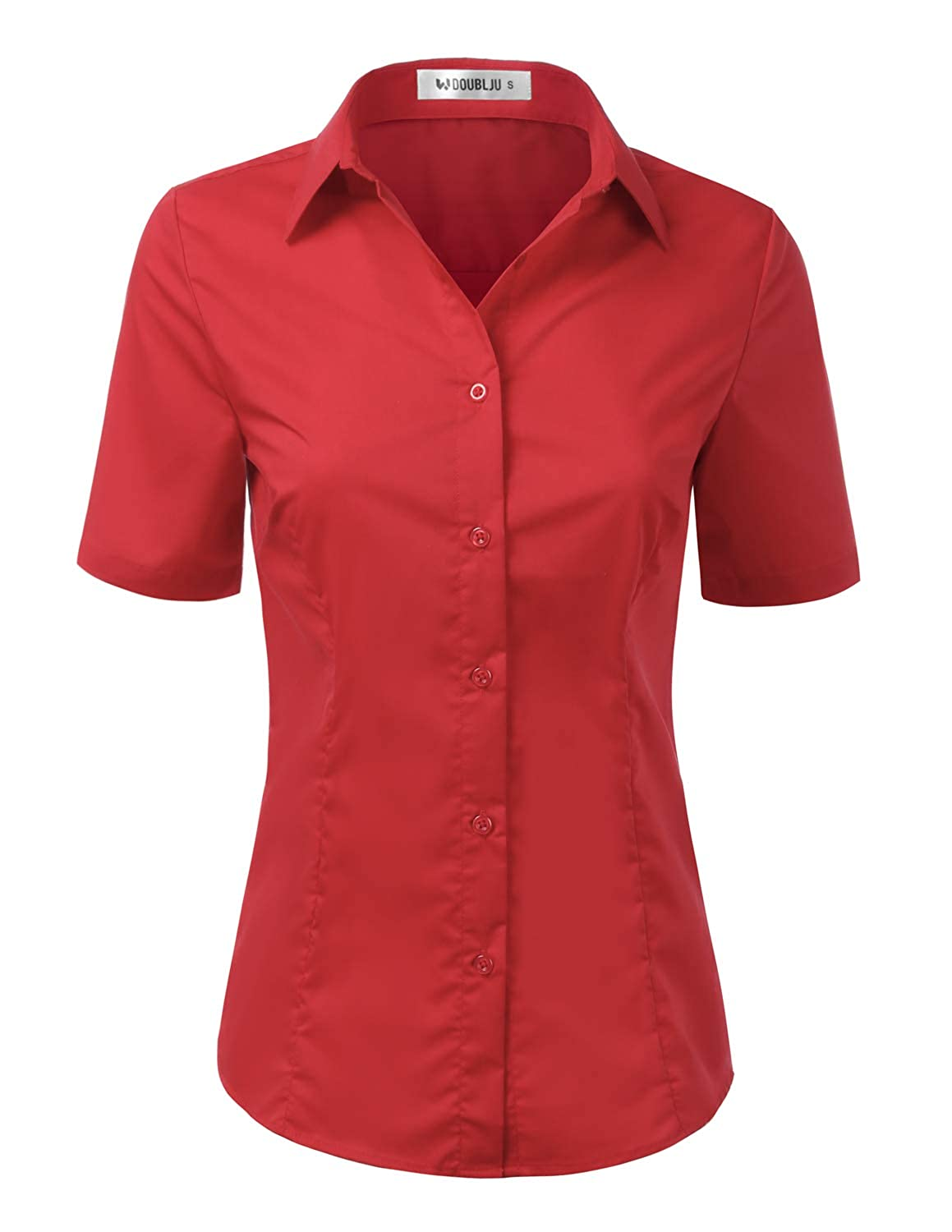 Cwtsts010_red Doublju Womens Basic Simple Short Sleeve Button Down Shirt With Plus Size