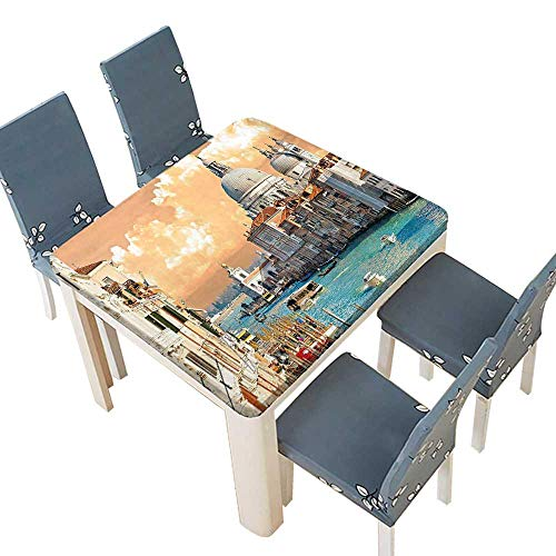 (PINAFORE Polyester Tablecloth Table Cover Decor Grand Canal in Venice Italy Historical European Cityscape Town Tower Boho Print Dining Room 45 x 45 INCH (Elastic Edge))