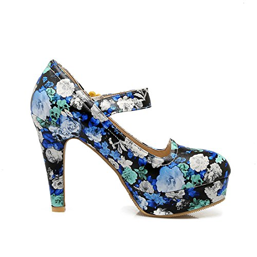 YE Womens Block High Heels Platform Print Pumps Sweet Shoes Black d1O8quJrpl