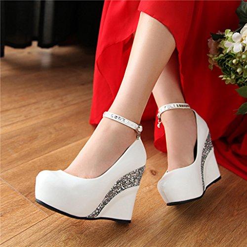 Zapatos Blanco Redonda Cabeza Tacones Rhinestone Otoño Primavera Mujer Poco Lentejuelas PU Pendiente Profunda Boca De 8aS6qvZwx