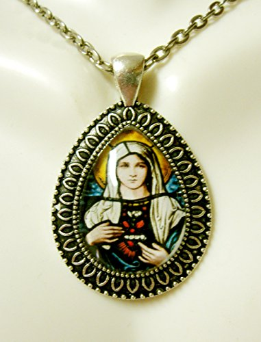 Stained Glass Heart Pendant (Immaculate heart of Mary stained glass window teardrop pendant and chain - AP15-075)