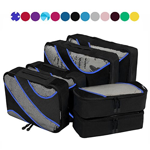 6 Set Packing Cubes,3 Various Sizes Travel Luggage Packing Organizers Black (3 Large Packing Piece Cubes)