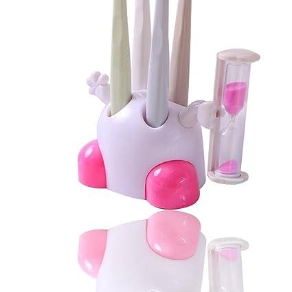 Bebé Niños Vaso para cepillos de dientes con reloj de arena temporizador para 3 min,