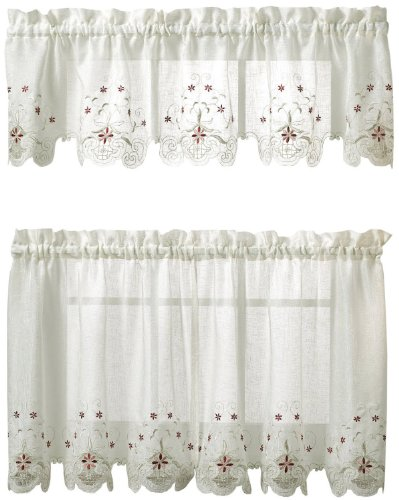 - Today's Curtain Sunshine Semi Sheer Reverse 24-Inch Embroidery Tier, White/Blue